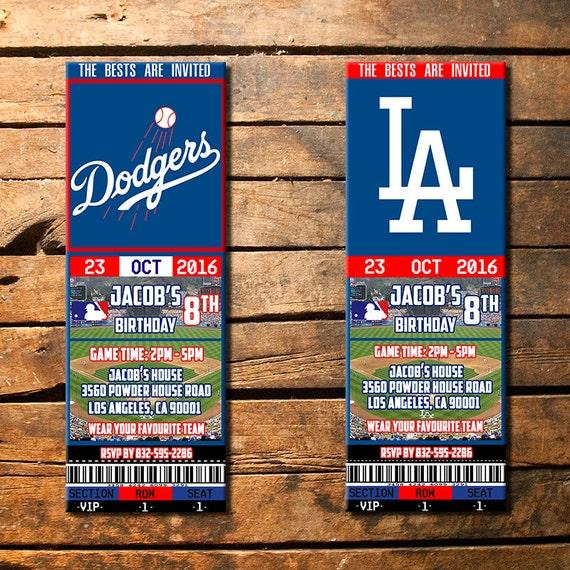 Los Angeles Dodgers Birthday Invitation La Dodgers