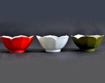"Otagiri Lotus Bowls, 3.5"" Flower Shaped Small Ceramic Bowls; Avocado Green, Red, White Dishes; OMC Japan"