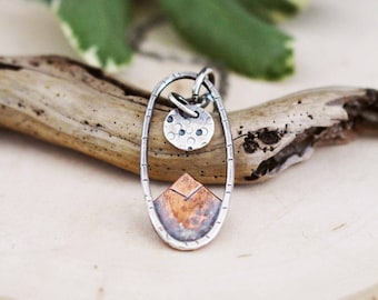 Mountain Necklace, Moon, Full Moon, Silver and Copper, Necklace