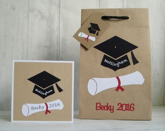 Gift bags etsy uk personalised graduation gift bag gift bag for graduate graduate gift bag card graduation gift wrap graduate bag and card set negle Images