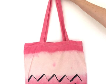 Dip dyed hand painted tote