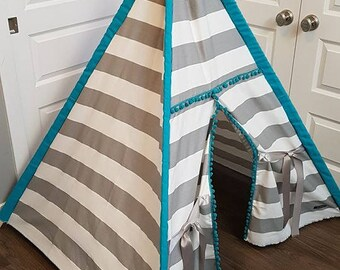 Toddler Teepee - Play Tent - Grey and White stripe with Teal sleeves and Pom Poms