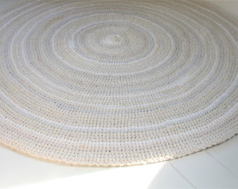 "Large 53"" Round Cream and White Rag Rug, Hand Crocheted Rag Rug,  Large Area Rug, Country Farmhouse Rag Rug, Wedding Gift Idea"