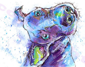 Weimaraner DOG PRINT of Original Watercolour Painting Watercolor Painting Hound Dog Picture Artwork Gift Art by Josie P.