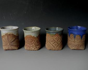 Handmade Ceramic Lace-impressed Tea Cup