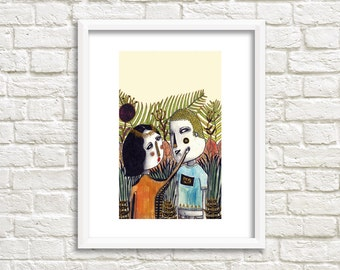 Love in the Forest Illustration, Art Print