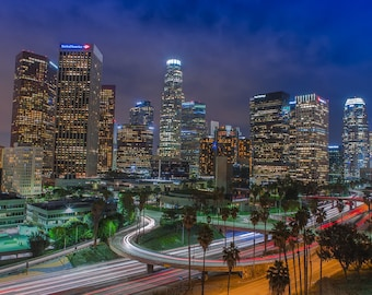 Downtown Los Angeles Skyline - Large Prints | City Skyline Art, Cityscape Photograph, Night Photography, Wall Decor, Home Decor