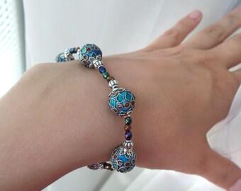 Blue green cloisonne bracelet, boho bracelet, enamel jewelry, gypsy bracelet, bohemian jewelry, enamel bracelet, cloisonne jewelry