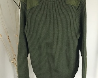 Vintage UK Army Issue Olive Green Wool Jumper Ribbed Wool Sweater Size Made in UK