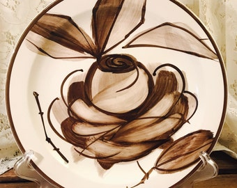Rare Vintage Vera Neumann Island Worcester Dinner Plates - Made In Jamaica - Brown Rose and Leaves
