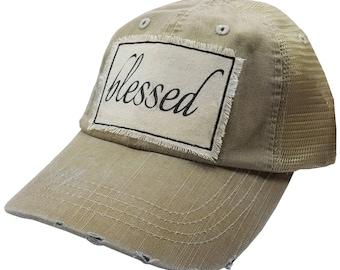 "Womens Baseball Hat, Womens Baseball Caps, Womens hats, Womens Caps, Trucker Cap, ""Blessed"" Trucker Hat, Ladies Trucker Hat, Hats, Gifts NEW"