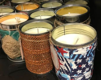 Soy Soup Can Candle, Ready to Ship, Scented Home Decor Upcycled Tin Can, Scented Soy Candle