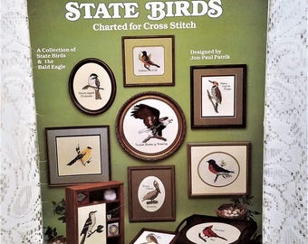 State Birds Charted for Cross Stitch, Leisure Arts Leaflet 322, Vintage 1984, Cross Stitch Patterns, 50 State Birds Plus Bald Eagle