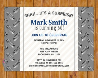 Surprise Birthday Invite Masculine Silver Navy Blue 50th 60th Birthday Invitation for Guys Retirement Printable 5x7 Digital JPG File (568)