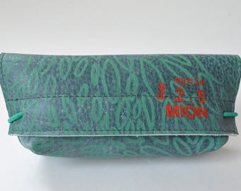 Leather case for glasses (blue leather with green print)