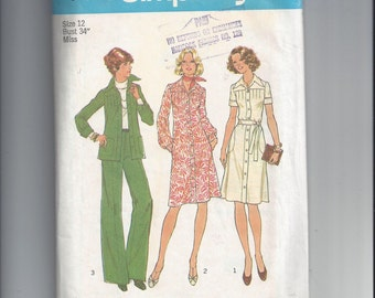 Simplicity 7178 Pattern for Misses' Dress or Top and Pants, Size 12, From 1973. Vintage Pattern, Home Sewing Pattern, 1973 Fashion Pattern