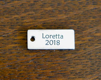 Your Name Custom Laser Engraved Stainless Steel Rectangle Charm CC394