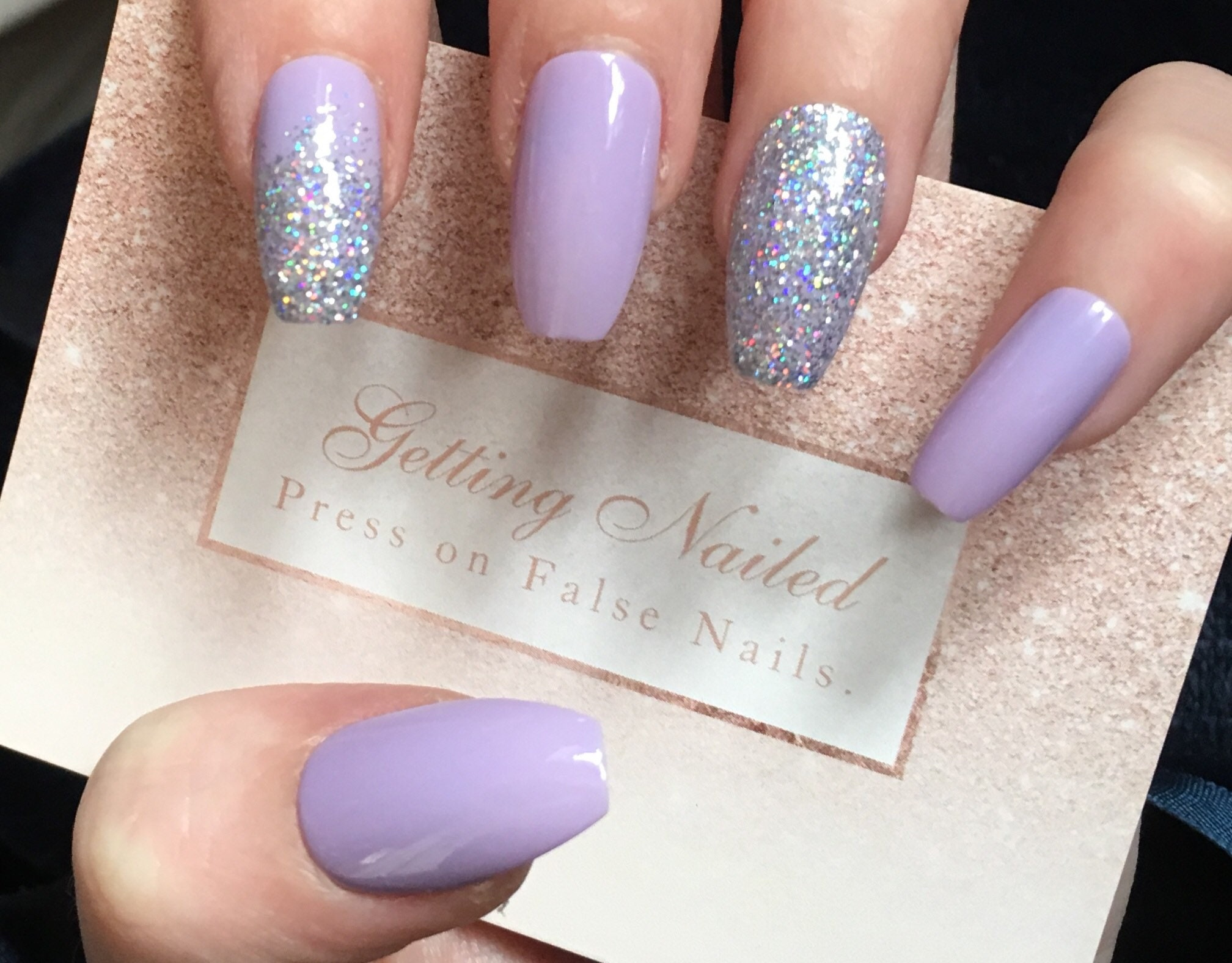 Lilac False nail set, holographic diamond nails, iridescent fake ...