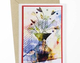 Greeting Card/Vase of Flowers/Flower Card