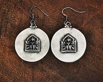 Indian Silver Hindu Amulet Dangle Earrings - Rajasthani Silver Earrings - Hindu Amulet - Rajasthani Jewelry -