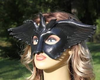 Black raven leather mask