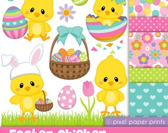 Easter Chicken - Digital paper and clip art set
