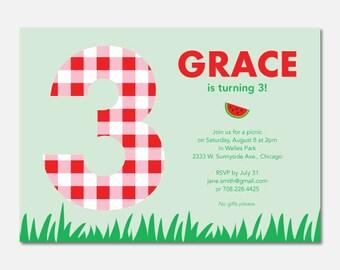 Picnic Birthday Party Invitation, Picnic Birthday Party, Outdoor Birthday, Custom Invitation, Printable Birthday Invitation, Flying Pinwheel