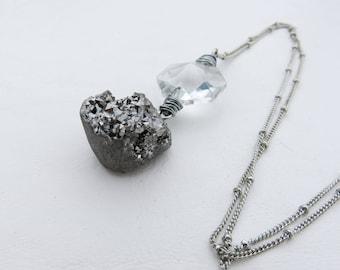 Vintage Crystal Prism and Silver Druzy Necklace // Druzy Necklace // Silver Wire Wrapped Prism Necklace