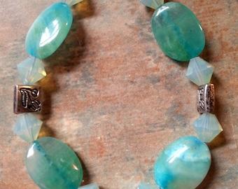Lovely Blue Apatite Bracelet and Earring Set