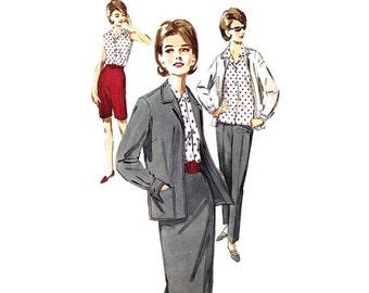 des années 1960 chemise, veste, jupe de Butterick 2741 femme, pantalon, Shorts Sz 22 1/2 || Buste de 43 po / 109cm || Patron de couture vintage