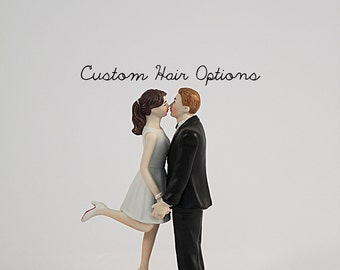 Personalized Wedding Cake Topper - A Kiss And We're Off Wedding Cake Topper - Honeymoon - Bride and Groom Cake Topper - Custom - Unique