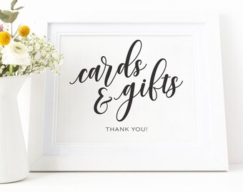 Black cards and gifts, wedding cards and gifts signage printable typography pdf instant download, 5x7 inches sign, 8x10 inches sign, BDS-04