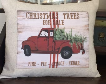 Red Chevy Truck Christmas Tree Farm Advertising Pillow, Red Truck Farmhouse Pillow, Vintage Farmhouse Throw Pillow Cover, Cottage Style