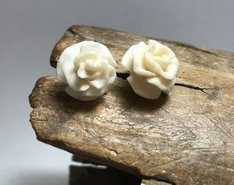 """Hand Carved Bone Stud Earrings """"Roses"""""""