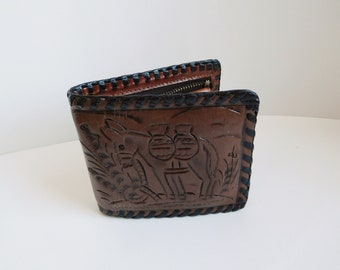 Vintage tooled leather wallet made in Mexico Leather billfold