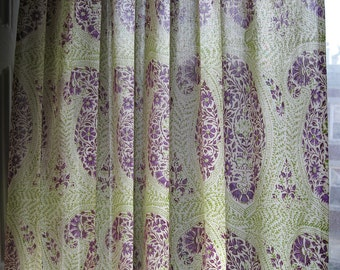"Hand block printed curtain - Babylon Boota lime 47""w x 92"" l"