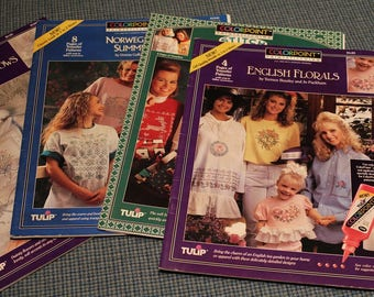 Fabric Paint Stitching ~ Apparel Painting Designs ~ English Florals ~ Noel ~ Bouquets & Bows ~ Norwegian Summer ~ 28 Patterns ~Collectible