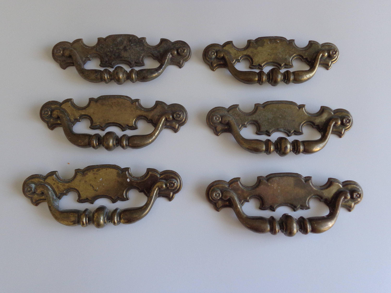 Keeler Brass Co Drawer Pulls, 6 Keeler Drawer Pulls, Vintage Drawer ...