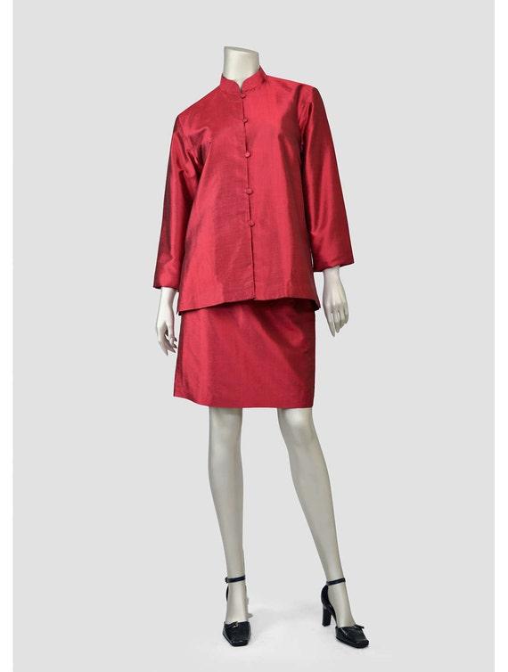 Vintage Silk Suit Raspberry Red Suit Womens Formal Suit
