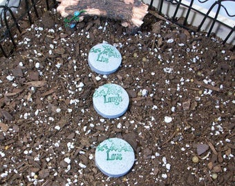 miniature stone look stepping stones set of 3, LIVE LOVE LAUGH Fairy or gnome gardens