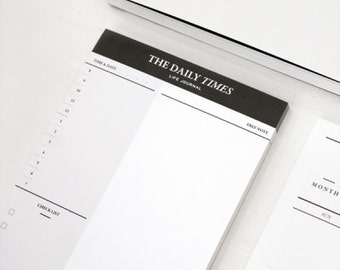Daily Times Notepad / Time Table / Checklist Notepad / Memo Pad / To Do List / Planner / Diary / Agenda / Journal / Bullet Journal