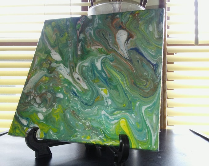 """Featured listing image: 8""""×8"""" Poured acrylics on ceramic tile"""