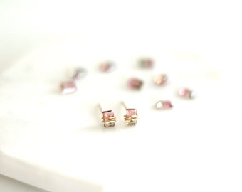 Watermelon tourmaline studs, bicolor tourmaline, pink bar earrings, post earrings, dainty jewelry Baguette VitrineDesigns Under 125