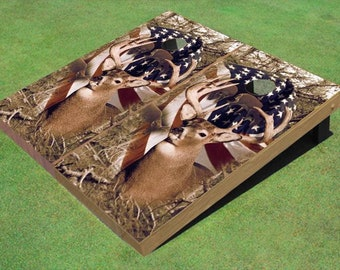 Patriotic American Flag With Big Buck Themed Cornhole Boards