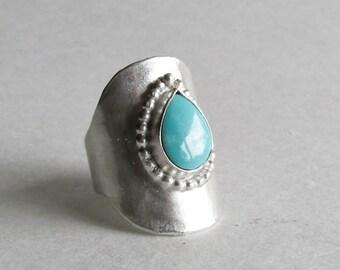 Royston Turquoise Hammered Saddle Ring - Size 8.5 - size 8 1/2  - Royston Turquoise Jewelry - December Birthstone