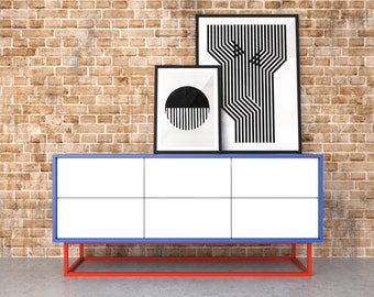 Midcentury modern sideboard - red, blue and white
