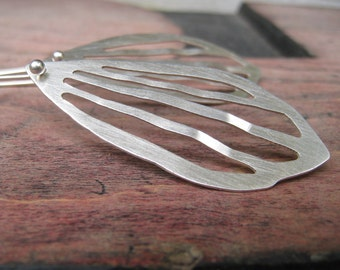 Butterfly wing earrings, argentium silver sculptures