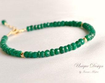 Genuine emerald bracelet, gold filled precious bracelet, green bracelet, gift for her, emerald jewelry, May birthstone