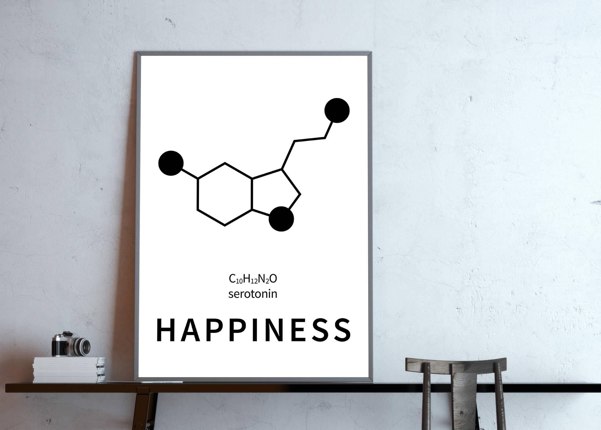 Poster: happiness serotonin structural formula molecular