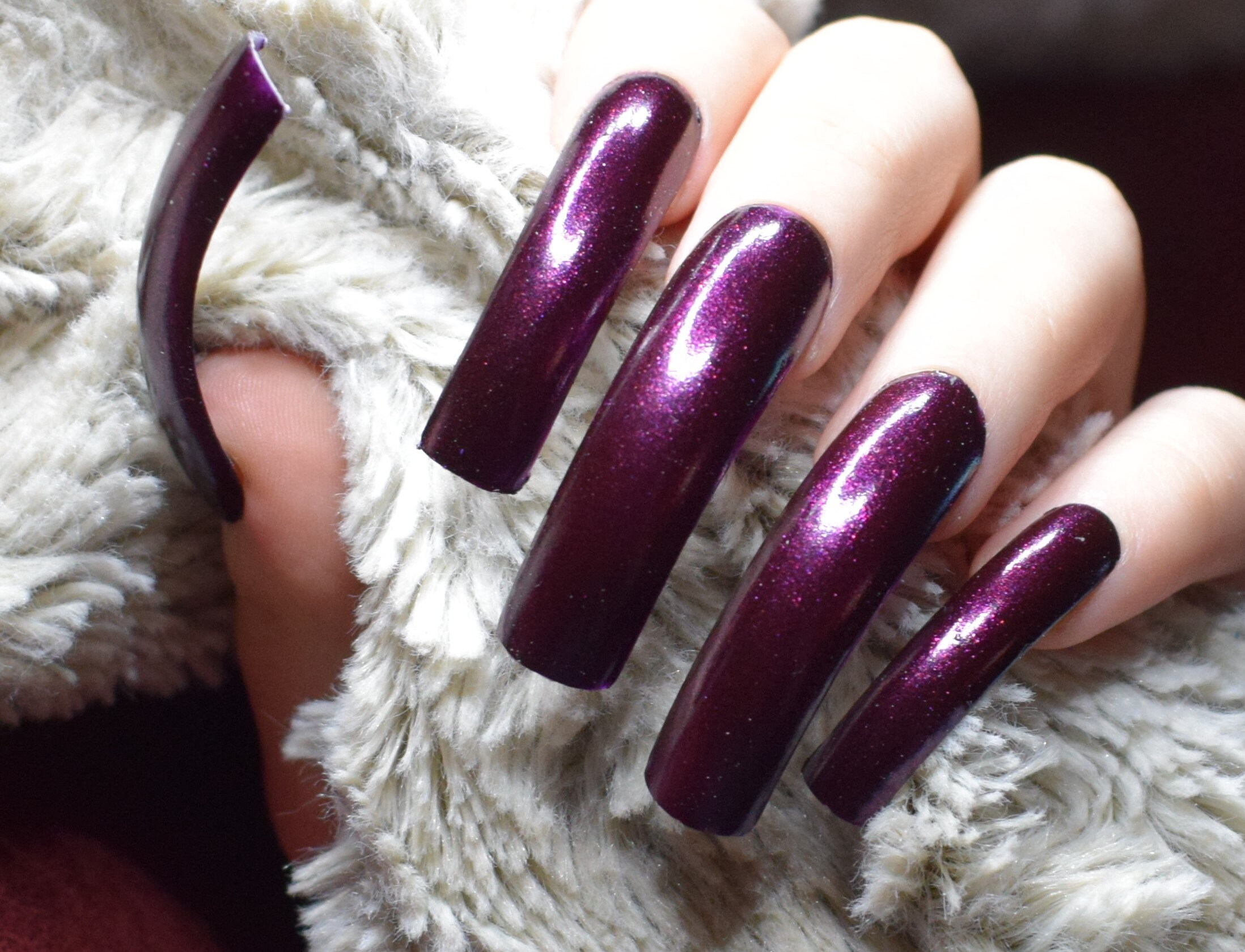 Deep Purple Fake Nails, Extra Long Curved False Nails, Hand Painted ...